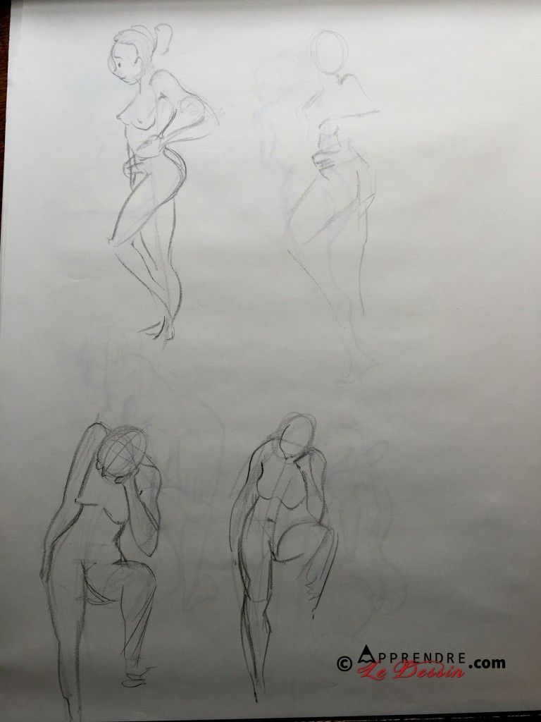 Dessin Pose Nue Modele Femme 06