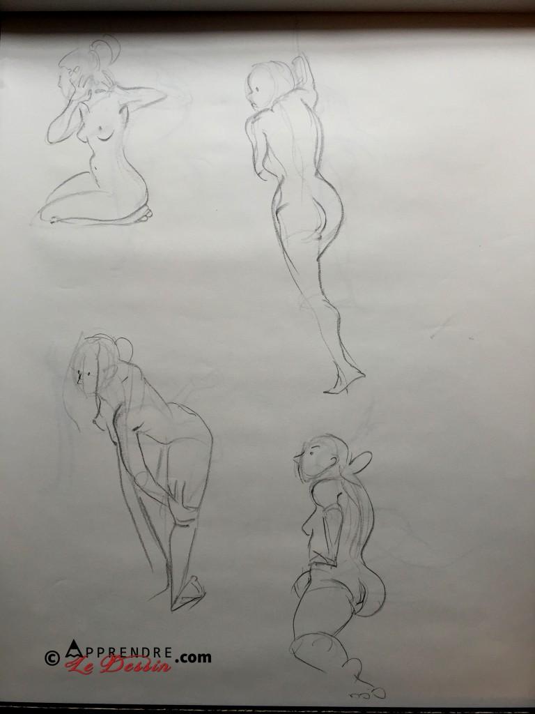 Dessin Pose Nue Modele Femme 07