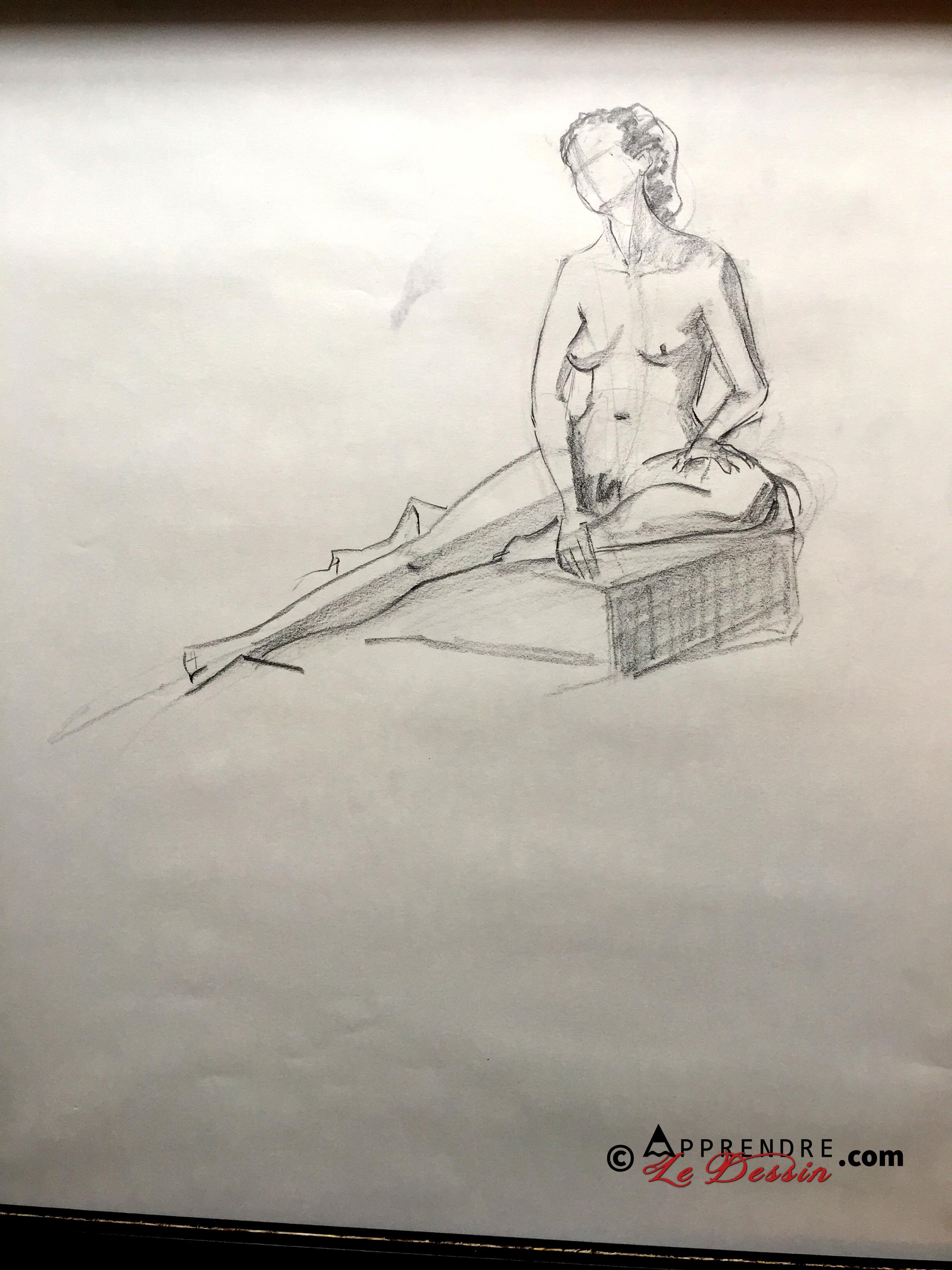 Dessin Pose Nue Modele Femme 01
